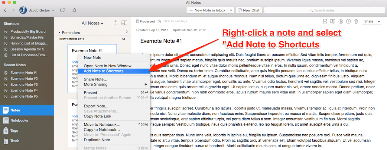 Organize Evernote: Add a Note to Evernote Shortcuts - Option 1